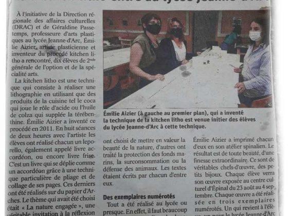 Article dans le journal Vosges Matin