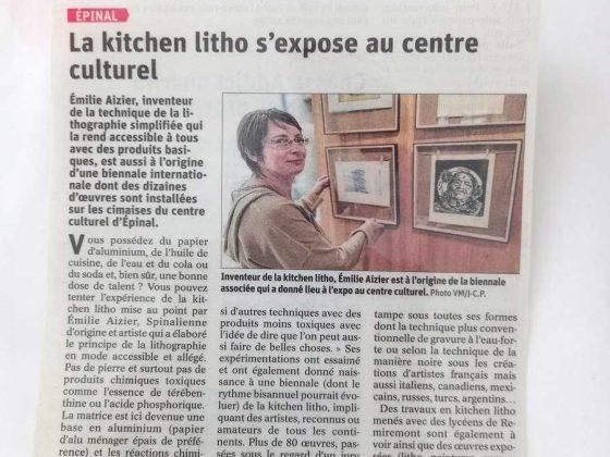 Article dans le quotidien «Vosges Matin» présentant l'exposition à Épinal de la biennale de l'estampe 2019/2020.
